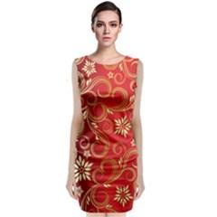 Golden Swirls Floral Pattern Classic Sleeveless Midi Dress