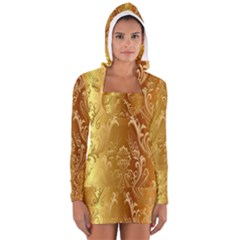 Golden Pattern Vintage Gradient Vector Women s Long Sleeve Hooded T-shirt
