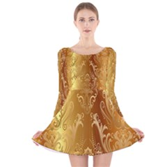Golden Pattern Vintage Gradient Vector Long Sleeve Velvet Skater Dress