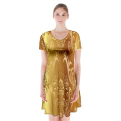 Golden Pattern Vintage Gradient Vector Short Sleeve V-neck Flare Dress