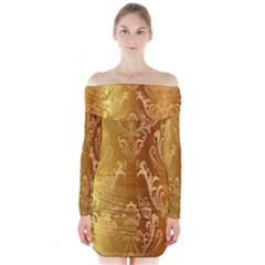 Golden Pattern Vintage Gradient Vector Long Sleeve Off Shoulder Dress