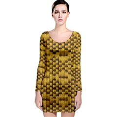 Golden Pattern Fabric Long Sleeve Bodycon Dress