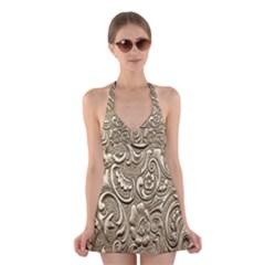 Golden European Pattern Halter Swimsuit Dress