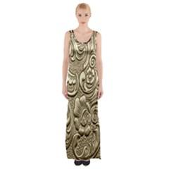 Golden European Pattern Maxi Thigh Split Dress