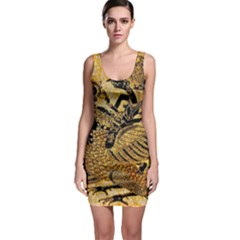 Golden Colorful The Beautiful Of Art Indonesian Batik Pattern Sleeveless Bodycon Dress