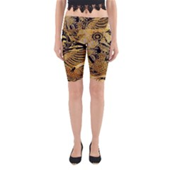 Golden Colorful The Beautiful Of Art Indonesian Batik Pattern Yoga Cropped Leggings
