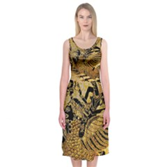 Golden Colorful The Beautiful Of Art Indonesian Batik Pattern Midi Sleeveless Dress