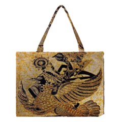 Golden Colorful The Beautiful Of Art Indonesian Batik Pattern Medium Tote Bag