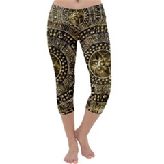 Gold Roman Shield Costume Capri Yoga Leggings