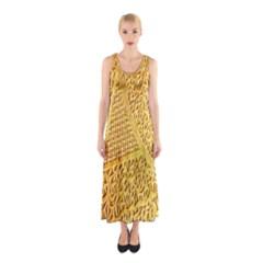 Gold Pattern Sleeveless Maxi Dress