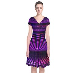 Glass Ball Texture Abstract Short Sleeve Front Wrap Dress