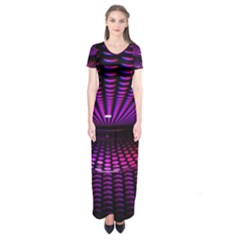 Glass Ball Texture Abstract Short Sleeve Maxi Dress