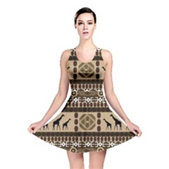 Giraffe African Vector Pattern Reversible Skater Dress