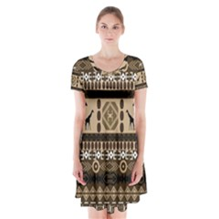 Giraffe African Vector Pattern Short Sleeve V-neck Flare Dress