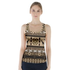 Giraffe African Vector Pattern Racer Back Sports Top
