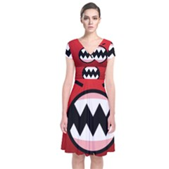 Funny Angry Short Sleeve Front Wrap Dress