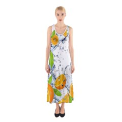 Orange Fruits Water Food Sleeveless Maxi Dress