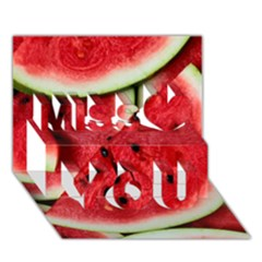 Fresh Watermelon Slices Texture Miss You 3D Greeting Card (7x5)