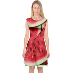 Fresh Watermelon Slices Texture Capsleeve Midi Dress