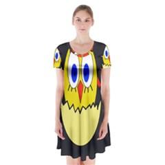 Chicken Short Sleeve V-neck Flare Dress