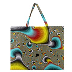 Fractals Random Bluray Zipper Large Tote Bag