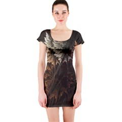 Fractalius Abstract Forests Fractal Fractals Short Sleeve Bodycon Dress