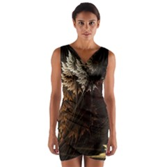 Fractalius Abstract Forests Fractal Fractals Wrap Front Bodycon Dress