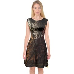 Fractalius Abstract Forests Fractal Fractals Capsleeve Midi Dress