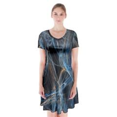 Fractal Tangled Minds Short Sleeve V-neck Flare Dress