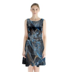 Fractal Tangled Minds Sleeveless Chiffon Waist Tie Dress