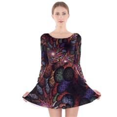 Fractal Swirls Long Sleeve Velvet Skater Dress