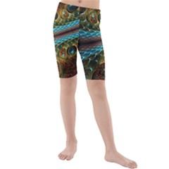 Fractal Snake Skin Kids  Mid Length Swim Shorts