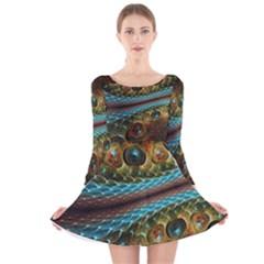 Fractal Snake Skin Long Sleeve Velvet Skater Dress