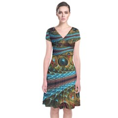 Fractal Snake Skin Short Sleeve Front Wrap Dress