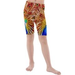 Fractal Peacock Art Kids  Mid Length Swim Shorts
