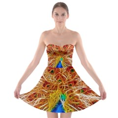 Fractal Peacock Art Strapless Bra Top Dress