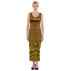 Fractal Pattern Fitted Maxi Dress