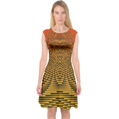 Fractal Pattern Capsleeve Midi Dress