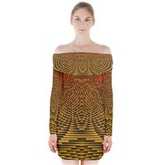 Fractal Pattern Long Sleeve Off Shoulder Dress