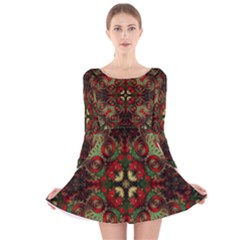 Fractal Kaleidoscope Long Sleeve Velvet Skater Dress