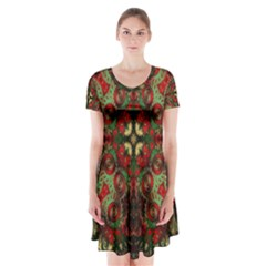 Fractal Kaleidoscope Short Sleeve V-neck Flare Dress