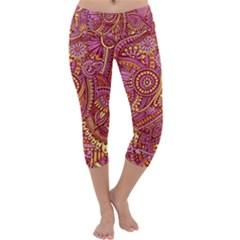 Pink Yellow Hippie Flower Pattern Zz0106 Capri Yoga Leggings