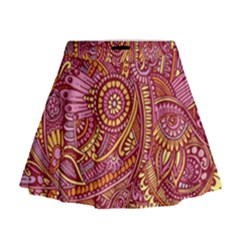 Pink Yellow Hippie Flower Pattern Zz0106 Mini Flare Skirt