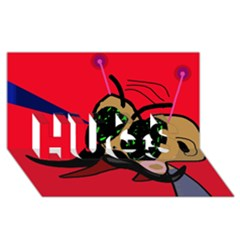 Mr Fly HUGS 3D Greeting Card (8x4)