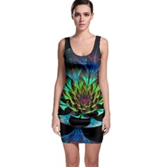 Fractal Flowers Abstract Petals Glitter Lights Art 3d Sleeveless Bodycon Dress
