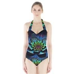 Fractal Flowers Abstract Petals Glitter Lights Art 3d Halter Swimsuit