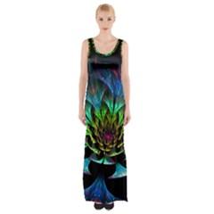 Fractal Flowers Abstract Petals Glitter Lights Art 3d Maxi Thigh Split Dress