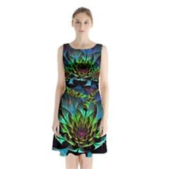 Fractal Flowers Abstract Petals Glitter Lights Art 3d Sleeveless Chiffon Waist Tie Dress