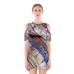 Fractal Circles Cutout Shoulder Dress