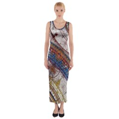 Fractal Circles Fitted Maxi Dress